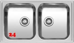 REGINOX Küchenspüle Diplomat 20 LUX (R) Einbauspüle Edelstahl mit Einbaurand Doppelbecken mit Siebkorb als Stopfenventil