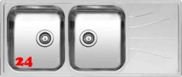 REGINOX Küchenspüle Diplomat 30 LUX Einbauspüle Edelstahl Doppelspüle mit Einbaurand Siebkorb als Stopfenventil