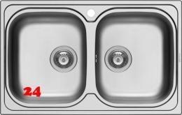 PYRAMIS Küchenspüle Amaltia (79x50) 2B Einbauspüle / Doppelspüle Siebkorb als Stopfenventil
