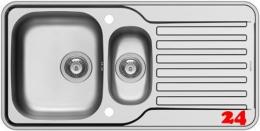 PYRAMIS Küchenspüle Space Mini 1 1/2B 1D Einbauspüle / Edelstahlspüle Siebkorb als Drehknopfventil