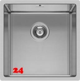 PYRAMIS Küchenspüle Astris (40x40) 1B Einbauspüle Flachrand / Flächenbündig Siebkorb als Stopfen- oder Drehknopfventil