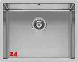 PYRAMIS Küchenspüle Astris (50x40) 1B Einbauspüle Flachrand / Flächenbündig Siebkorb als Stopfen- oder Drehknopfventil