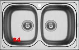 {LAGER} PYRAMIS Küchenspüle Sparta (79x50) 2B Einbauspüle / Doppelspüle Siebkorb als Stopfenventil