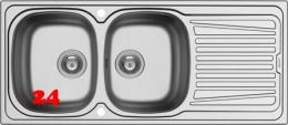 {LAGER} PYRAMIS Küchenspüle Sparta (116x50) 2B 1D Einbauspüle / Doppelspüle Siebkorb als Drehknopfventil