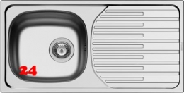 Pyramis Küchenspüle ET33 Fork (86x43,5) 1B 1D Einbauspüle / Edelstahlspüle Ablauf mit Stopfenventil ohne Hahnlochbohrung