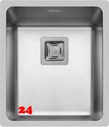 Pyramis Küchenspüle Lume (34x40) 1B Einbauspüle Flachrand / Flächenbündig Siebkorb als Stopfen- oder Drehknopfventil