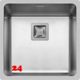 Pyramis Küchenspüle Lume (40x40) 1B Einbauspüle Flachrand / Flächenbündig Siebkorb als Stopfen- oder Drehknopfventil