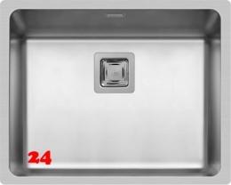 Pyramis Küchenspüle Lume (50x40) 1B Einbauspüle Flachrand / Flächenbündig Siebkorb als Stopfen- oder Drehknopfventil