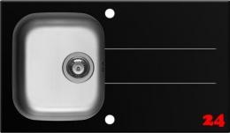 Pyramis Küchenspüle Concerto (86x50) 1B 1D Schwarz Kombination aus Sicherheitsglas und Edelstahlbecken
