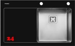 Pyramis Küchenspüle Crystalon (86x53) 1B 1D Schwarz RH Kombination aus Sicherheitsglas und Edelstahlbecken