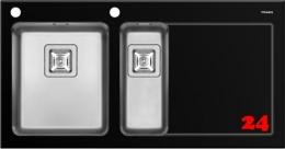 Pyramis Küchenspüle Crystalon (100x52) 1 1/2B 1D Schwarz LH Kombination aus Sicherheitsglas und Edelstahlbecken