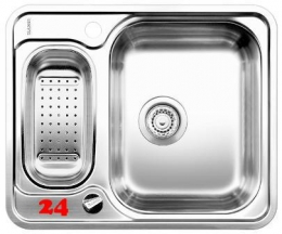 BLANCO Küchenspüle Lantos 6-IF Edelstahlspüle / Einbauspüle Flachrand mit Siebkorb als Drehknopfventil