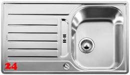 BLANCO Küchenspüle Lantos 45 S-IF Edelstahlspüle / Einbauspüle Flachrand mit Siebkorb als Drehknopfventil