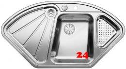 BLANCO Küchenspüle Delta-IF Edelstahlspüle / Eck-Einbauspüle Flachrand mit Ablaufsystem InFino und Drehknopfventil