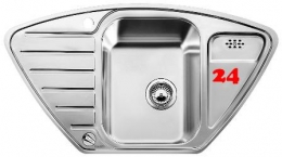 BLANCO Küchenspüle Lantos 9 E-IF Edelstahlspüle / Eck-Einbauspüle Flachrand mit Siebkorb als Drehknopfventil
