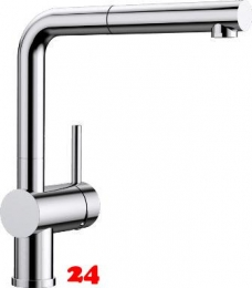 BLANCO Küchenarmatur Linus-S Chrom Einhebelmischer / Spültischarmatur mit Zugauslauf 140° schwenkbarer Auslauf