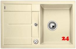 BLANCO Küchenspüle Metra 45 S Silgranit® PuraDur®II Granitspüle / Einbauspüle mit Drehknopfventil in 9 Farben