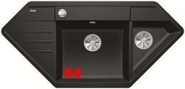 BLANCO Eckspüle Lexa 9 E Silgranit® PuraDur®II Granitspüle / Einbauspüle Ablaufsystem InFino mit Drehknopfventil
