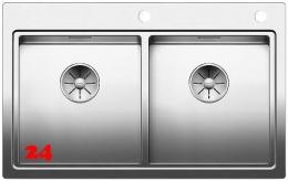 BLANCO Küchenspüle Divon II 8-IF Edelstahlspüle / Doppelspüle Flachrand mit Ablaufsystem InFino und Drehknopfventil