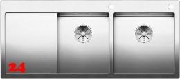 BLANCO Küchenspüle Claron 8 S-IF Edelstahlspüle / Doppelspüle Flachrand mit Ablaufsystem InFino und PushControl