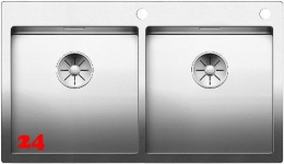 BLANCO Küchenspüle Claron 400/400-IF/A Doppelspüle Edelstahl Flachrand mit Ablaufsystem InFino und PushControl