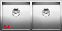 BLANCO Küchenspüle Claron 400/400-IF Edelstahlspüle / Doppelbecken Flachrand mit Ablaufsystem InFino und Handbetätigung