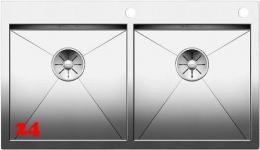 BLANCO Küchenspüle Zerox 400/400-IF/A Edelstahlspüle / Doppelbecken Flachrand mit Ablaufsystem InFino und PushControl