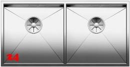 BLANCO Küchenspüle Zerox 400/400-IF Edelstahlspüle / Doppelbecken Flachrand mit Ablaufsystem InFino und Handbetätigung