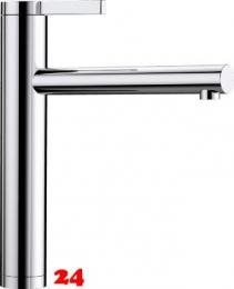 BLANCO Küchenarmatur Linee Chrom Einhebelmischer / Spültischarmatur mit Festauslauf 360° schwenkbarer Auslauf