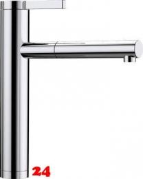 BLANCO Küchenarmatur Linee-S Chrom Einhebelmischer / Spültischarmatur mit Zugauslauf 130° schwenkbarer Auslauf