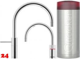 QUOOKER Nordic Round Twintaps Combi(+) Einhebelmischer Chrom & 100°C Armatur Set (22+NRCHRTT)