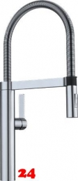 BLANCO Küchenarmatur Culina-S Edelstahl Finish Einhebelmischer / Spültischarmatur mit flexibler Pendelbrause umstellbar
