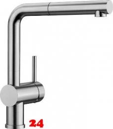 BLANCO Küchenarmatur Linus-S Edelstahl gebürstet Einhebelmischer mit Zugauslauf 140° schwenkbarer Auslauf