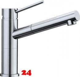BLANCO Küchenarmatur Alta S Compact Edelstahl Finish Einhebelmischer mit Zugauslauf 128° schwenkbarer Auslauf