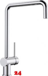 BLANCO Küchenarmatur Finess Chrom Einhebelmischer / Spültischarmatur mit Festauslauf 360° schwenkbarer Auslauf