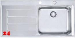 FRANKE Küchenspüle Epos EOX 211 Einbauspüle Slimtop / Flächenbündig mit Druckknopfventil