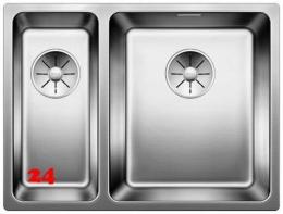 BLANCO Küchenspüle Andano 340/180-U Edelstahlspüle / Unterbaubecken mit Ablaufsystem InFino und Handbetätigung
