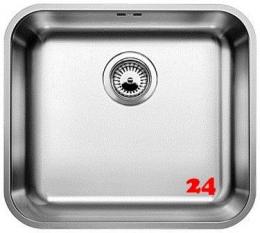 BLANCO Küchenspüle Supra 450-U Edelstahlspüle / Unterbaubecken mit Siebkorb als Stopfenventil und Handbetätigung