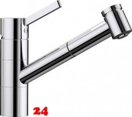 BLANCO Küchenarmatur Tivo-S-F Chrom Einhebelmischer mit Zugauslauf 120° schwenkbarer Auslauf Vorfenstermontage