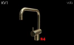 VOLA Küchenarmatur KV1-19 Messing poliert Spültischmischer / Eingriffmischer mit Doppelschwenkauslauf