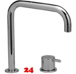 VOLA Küchenarmatur 590-19 Messing poliert Spültischmischer / Zweilocharmatur mit Eingriffmischer und Doppelschwenkauslauf