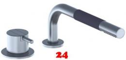 VOLA Küchenarmatur 500T1-19 Messing poliert 2-Loch Spültischmischer / Eingriffmischer mit versenkbarer Handbrause
