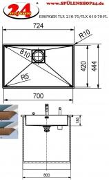 {Lager} EISINGER Techno-Line TLX 210-70 Einbauspüle / Edelstahlspüle Flachrand mit Druckknopfventil