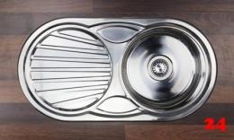 {Lager} BERNUS Aurea 45 Küchenspüle / Edelstahlspüle Siebkorb als Stopfen- oder Drehknopfventil