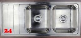 {Lager} BERNUS Amaya 80-2B Einbauspüle / Doppelspüle Siebkorb als Stopfen- oder Drehknopfventil