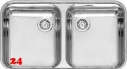 REGINOX Küchenspüle L18 35D40 (L) KGOKG Einbauspüle Edelstahl 3 in 1 mit Flachrand Doppelbecken mit Siebkorb als Stopfenventil