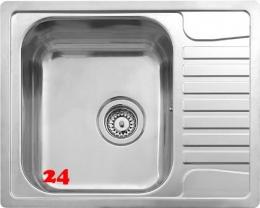 x REGINOX Küchenspüle Admiral 40 (R) OKG Einbauspüle Edelstahl mit Einbaurand Siebkorb als Stopfenventil