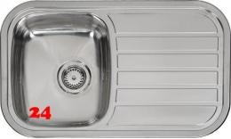 REGINOX Küchenspüle Regent 10 LUX OKG Einbauspüle Edelstahl mit Einbaurand Siebkorb als Stopfenventil