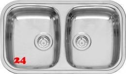 REGINOX Küchenspüle Regent 20 LUX KGOKG Einbauspüle Edelstahl mit Einbaurand Doppelbecken Siebkorb als Stopfenventil