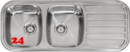 {LAGER} REGINOX Küchenspüle Regent 30 LUX KGOKG Einbauspüle Edelstahl Doppelspüle mit Einbaurand Siebkorb als Stopfenventil